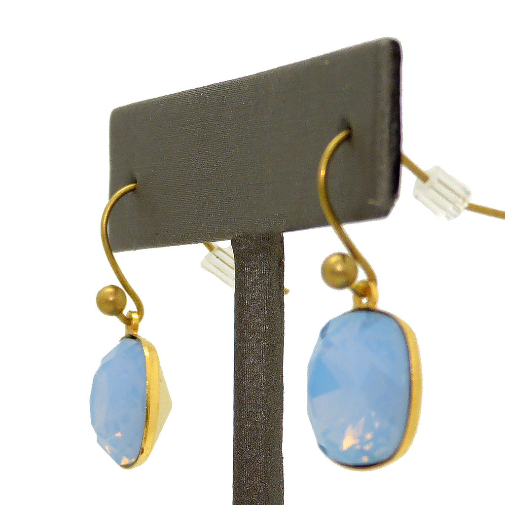 La Vie Parisienne Gold Crystal Air Blue Moderne Earrings 6517G Popesco - ILoveThatGift