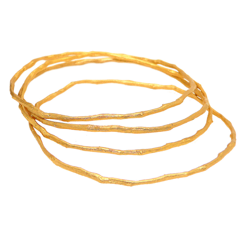 Petite Driftwood Bangles Bracelet Gold Patinaed Set of 4 by Michael Michaud