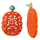 Kenneth Jay Lane Turquoise Top Coral Carved Drop Pierced Earrings - ILoveThatGift