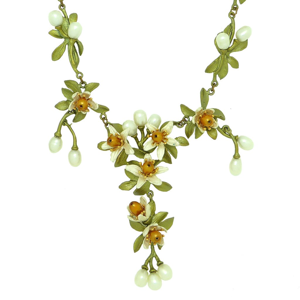 Orange Blossom Necklace with Pearls by Michael Michaud 8206