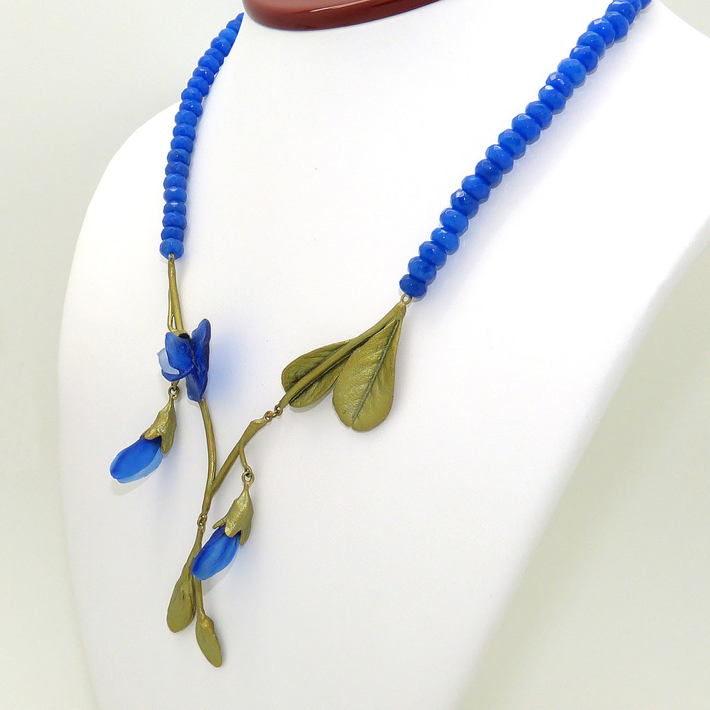 False Indigo Necklace Blue Agate Beads by Michael Michaud 9030 - ILoveThatGift