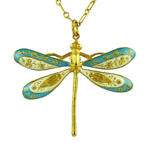 La Vie Parisienne Gold Enamel Dragonfly Necklace 904G Popesco - ILoveThatGift