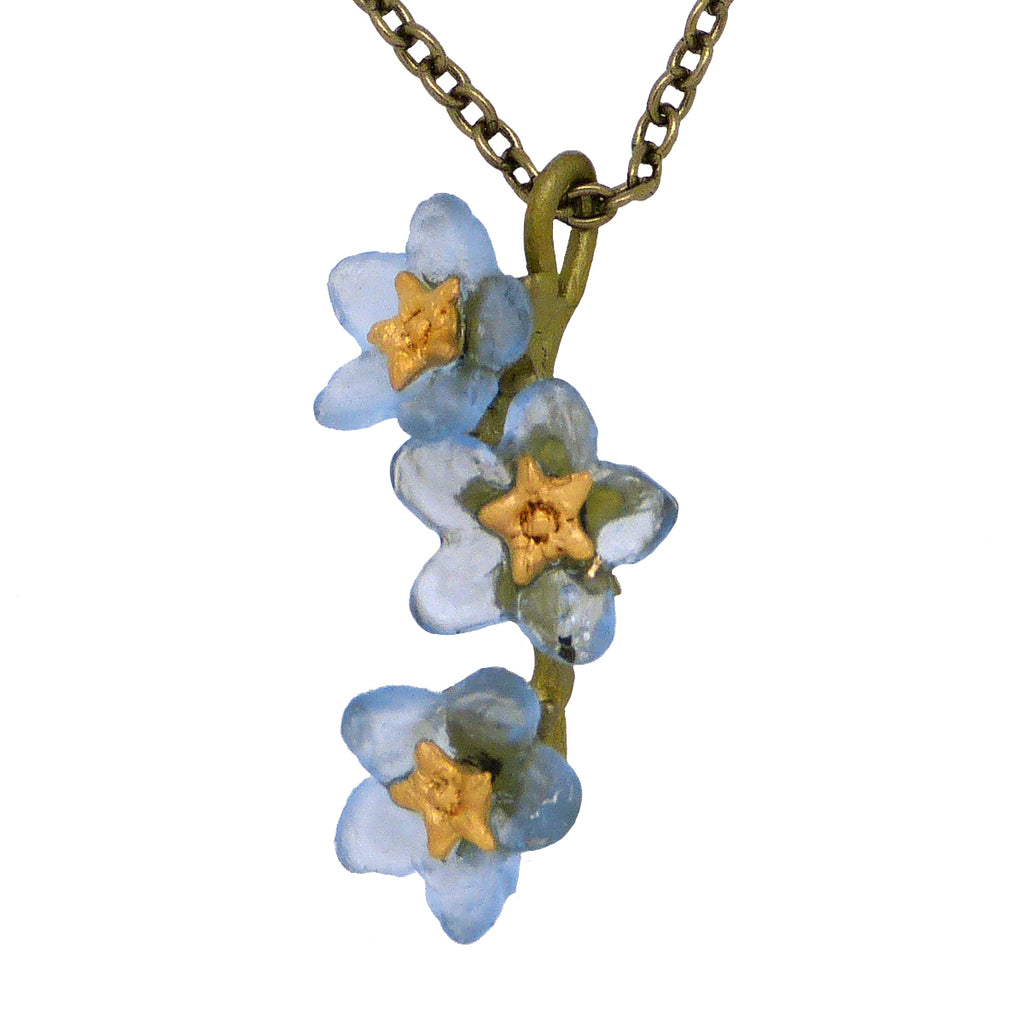 Forget Me Not Flower Necklace Pendant by Michael Michaud Nature Silver Seasons 9180 - ILoveThatGift