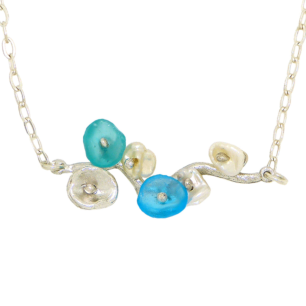 Drift Away Blue Pearl Bar Pendant Necklace by Michael Michaud Nature Silver Seasons 9248 - ILoveThatGift