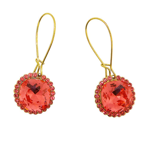 La Vie Parisienne Earrings Gold Coral Swarovski Crystal Dangle Popesco 9411G - ILoveThatGift