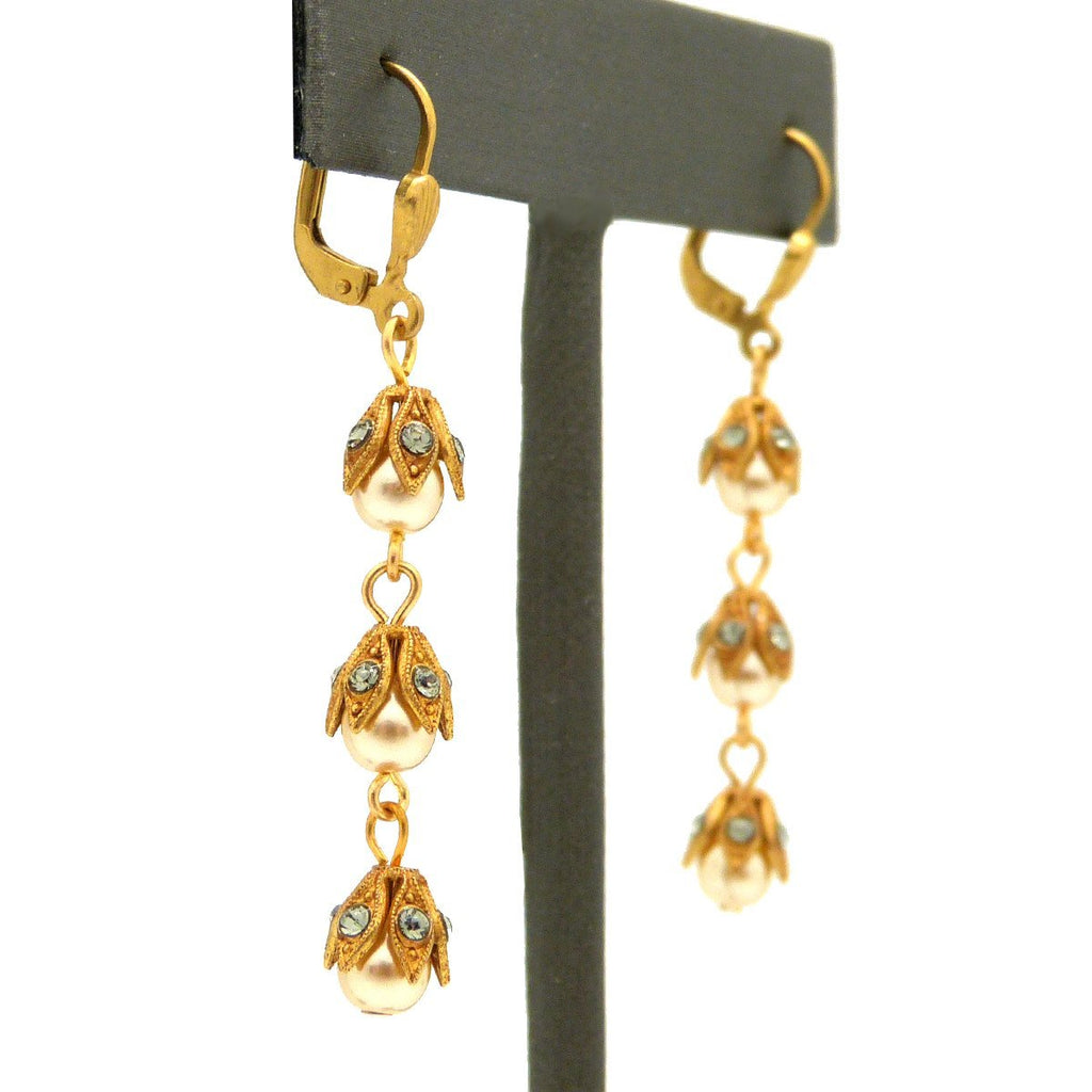 La Vie Parisienne Gold 3 Tier Capped Pearl Bead Earrings 9416G Catherine Popesco - ILoveThatGift