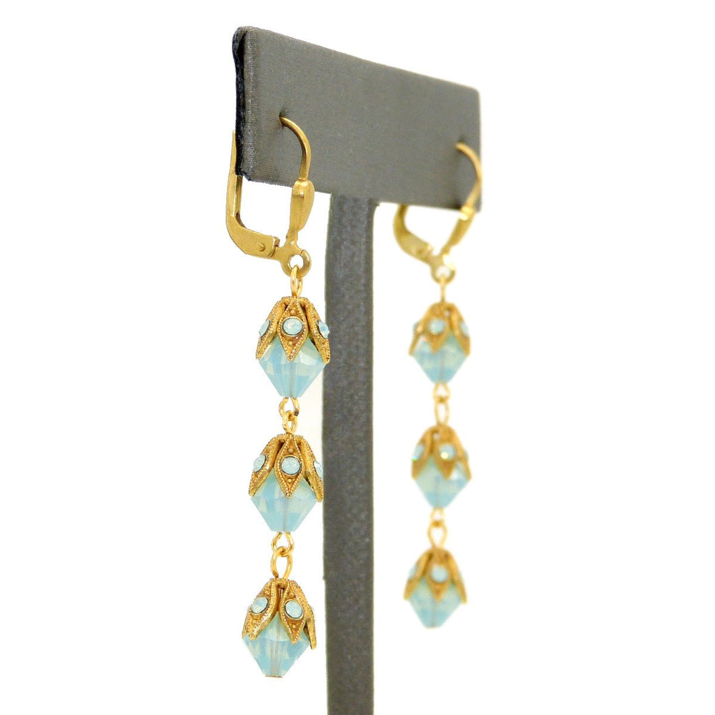 La Vie Parisienne Gold 3 Tier Capped Blue Opal Bead Earrings 9416G Catherine Popesco - ILoveThatGift