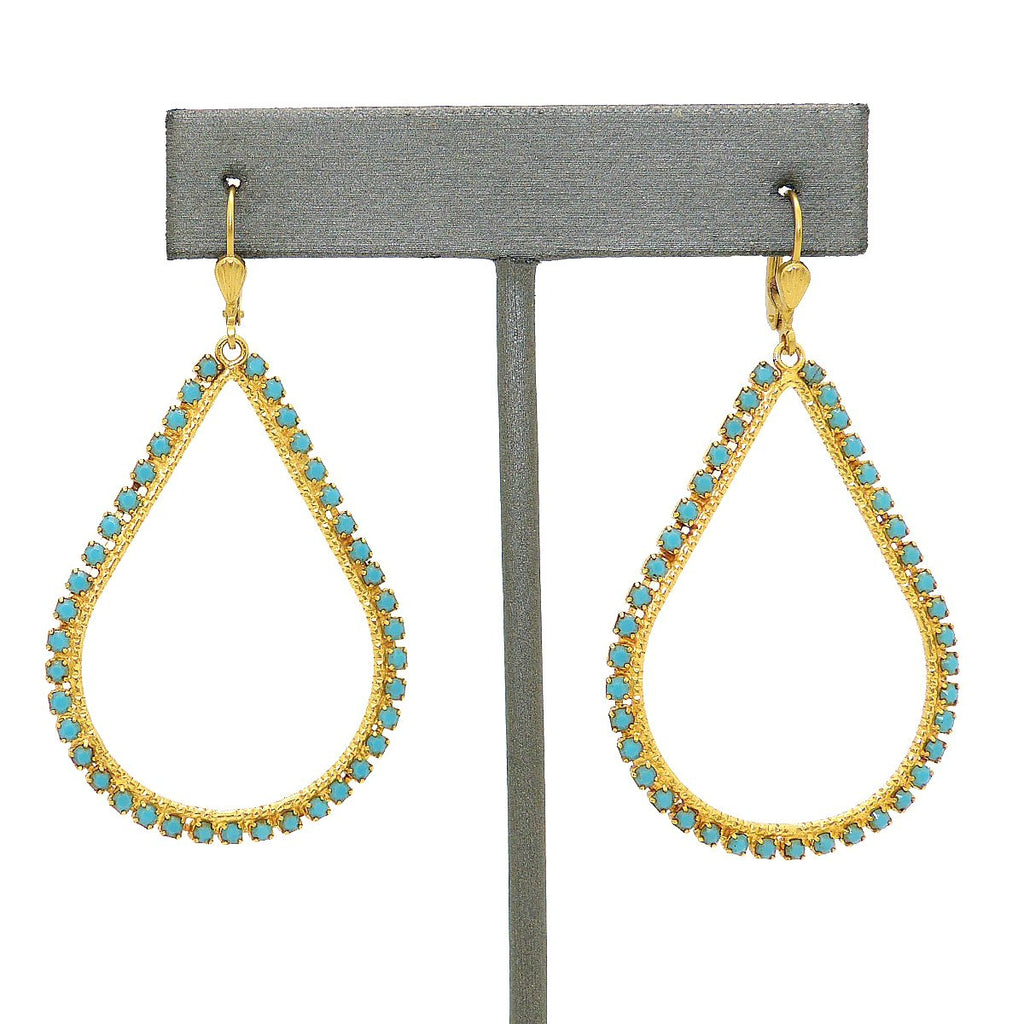 La Vie Parisienne Teardrop Gold Hoop Earrings Turquoise 9510G Catherine Popesco - ILoveThatGift