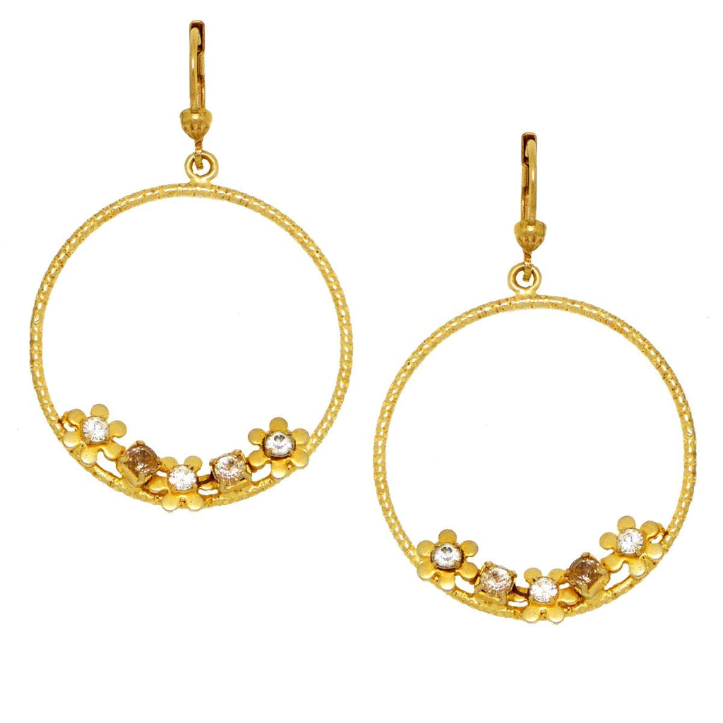 La Vie Parisienne Round Gold Hoop Earrings with Flowers 9556G Catherine Popesco - ILoveThatGift