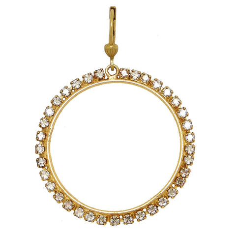 La Vie Parisienne Round Gold Hoop Earrings Encrusted with Crystals 9559G Catherine Popesco