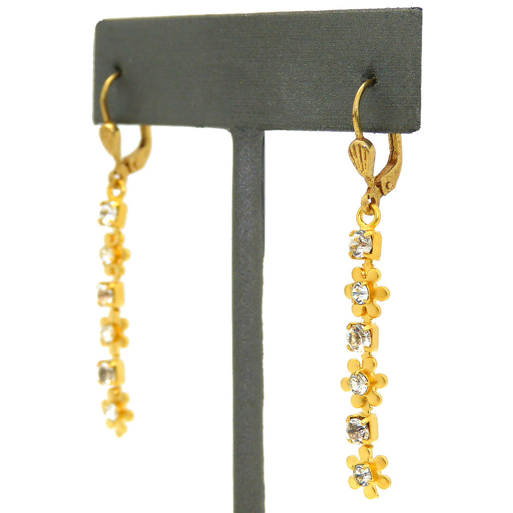 La Vie Parisienne Gold Dangle Earrings with Crystal Flowers 9562G Catherine Popesco - ILoveThatGift