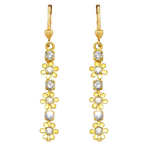 La Vie Parisienne Gold Dangle Earrings with Crystal Flowers 9562G Catherine Popesco