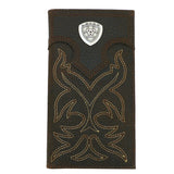Ariat Western Mens Leather Boot Stitched Embroidery Wallet Checkbook Cover - ILoveThatGift
