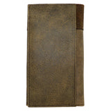 Ariat Western Mens Leather Boot Stitched Wallet Checkbook Cover Medium Brown - ILoveThatGift