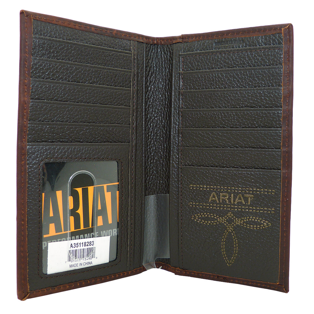 Ariat Western Mens Leather Shield Dark Copper Wallet Checkbook Cover - ILoveThatGift