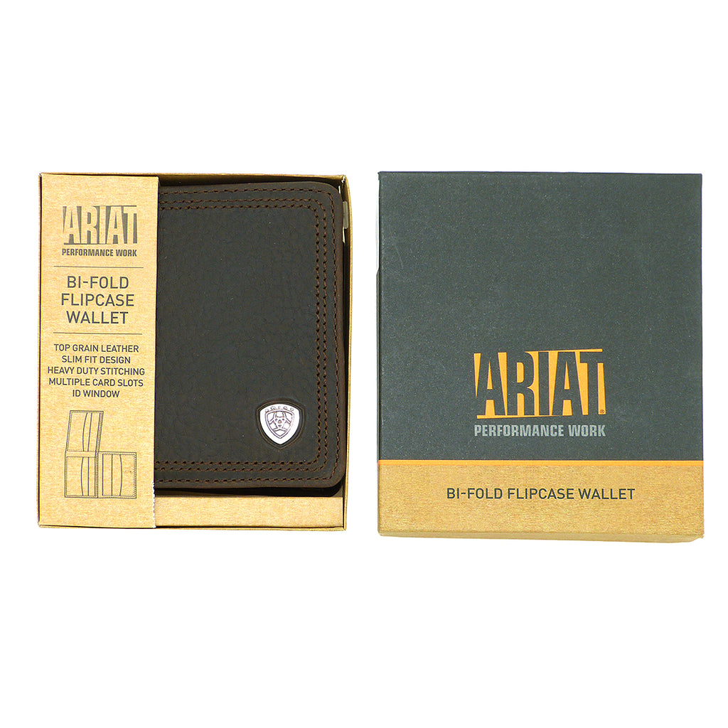 Ariat Western Mens Leather Shield Dark Brown Rowdy Bi-Fold Flipcase Wallet - ILoveThatGift