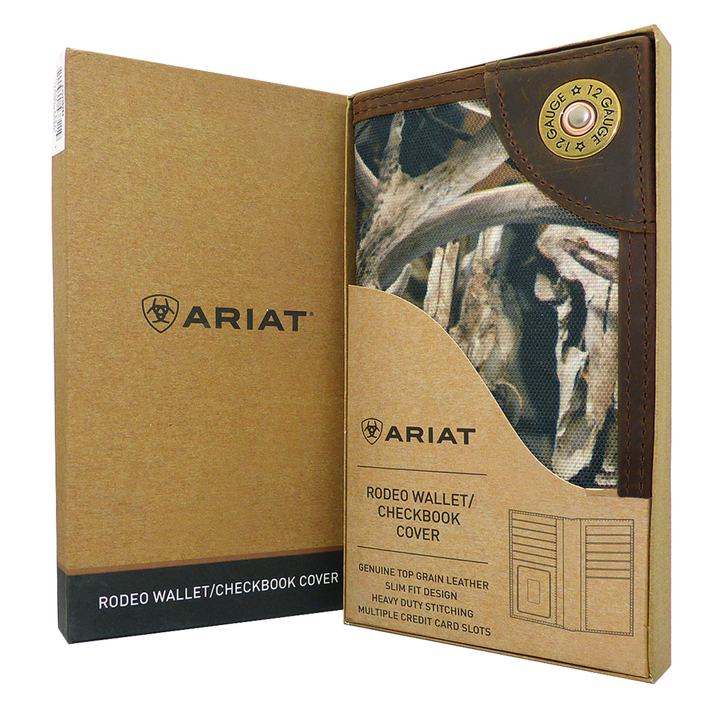 Ariat Western Mens Camo Shotgun Shell Rodeo Wallet Checkbook Cover A35236284 - ILoveThatGift