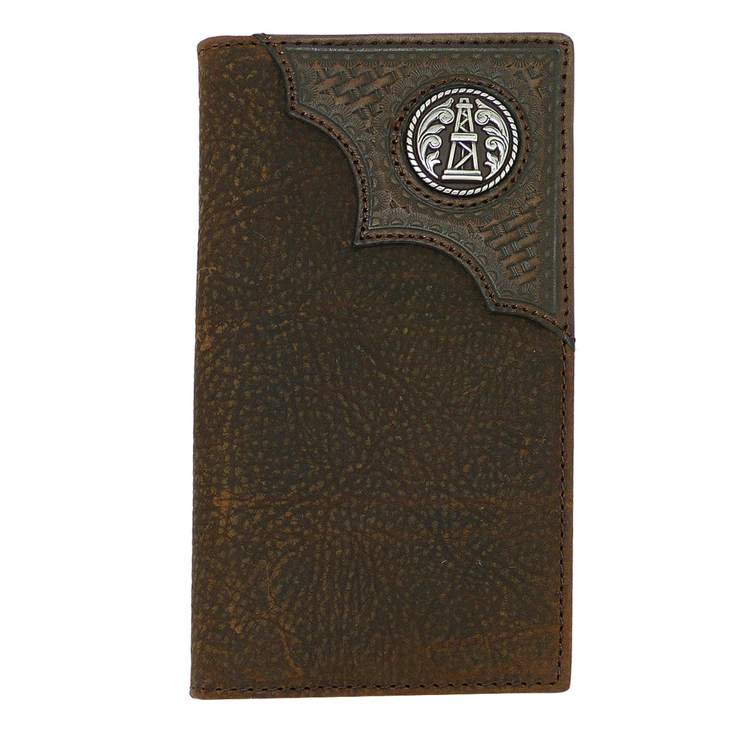 Ariat Western Mens Leather Oil Rig Shield Basket Weave Wallet Checkbook Cover - ILoveThatGift