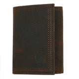 Ariat Western Mens Leather Shield Dark Brown Rowdy Tri-Fold Wallet - ILoveThatGift