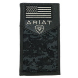 Ariat Western Mens Black Leather Digital Camo Rodeo Wallet Checkbook Cover USA Flag - ILoveThatGift