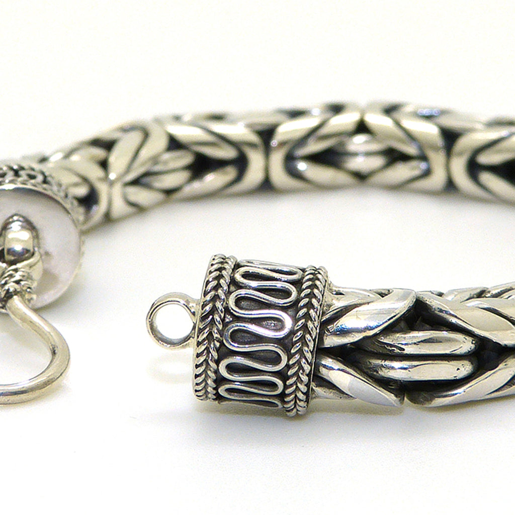 8mm Sterling Silver Mens Handmade Bali Solid Byzantine Link Bracelet with Hook Clasp - ILoveThatGift