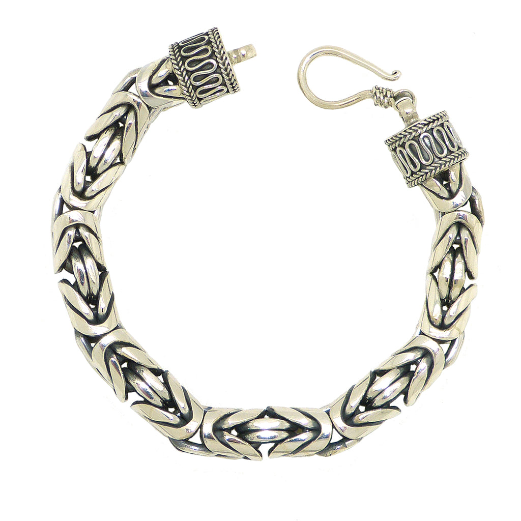 Sterling Silver 8mm Mens Handmade Bali Solid Byzantine Link Bracelet with Hook Clasp