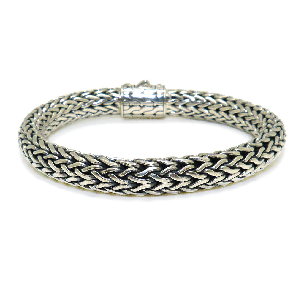 Sterling Silver Bali Basketweave Bracelet with CZ Cluster Clasp