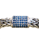 Sterling Silver Bali Basketweave Bracelet with Blue Sapphire Cluster Clasp - ILoveThatGift