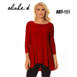 Alisha D Scoop Neck Tunic Red Jersey Knit Small