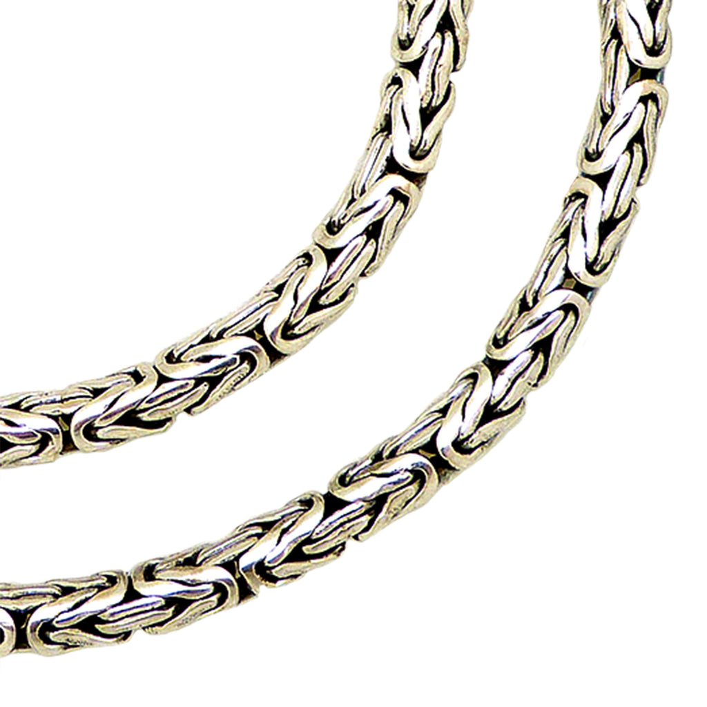 Sterling Silver Handmade 3mm Bali Byzantine Link Necklace with Hook Clasp - ILoveThatGift