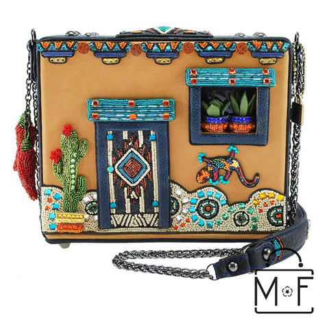 Mary Frances Adobe Pueblo House Embellished Western Theme Gecko Novelty Handbag 18418