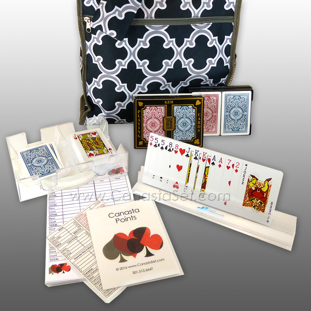 Canasta Set: Kem Double PLASTIC Card Decks Tray Card Holder Point Summary Tote Bag - ILoveThatGift