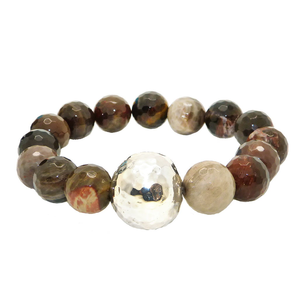 Simon Sebbag Stretch Petrified Wood Beads Bracelet with Hammered Sterling Silver B100FPW