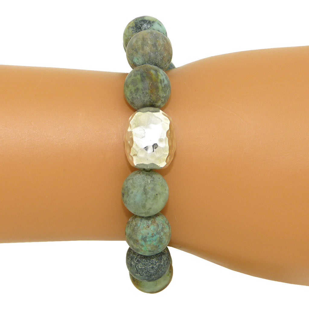 Simon Sebbag Stretch Matte African Turquoise Bracelet with Sterling Silver 925 Center B105MATQ - ILoveThatGift