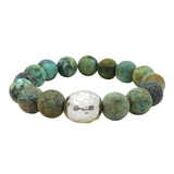 Simon Sebbag Stretch Matte African Turquoise Bracelet with Sterling Silver 925 Center B105MATQ