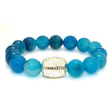 Simon Sebbag Sterling Silver Blue Fire Agate Striated Bead Bracelet B114NBFA