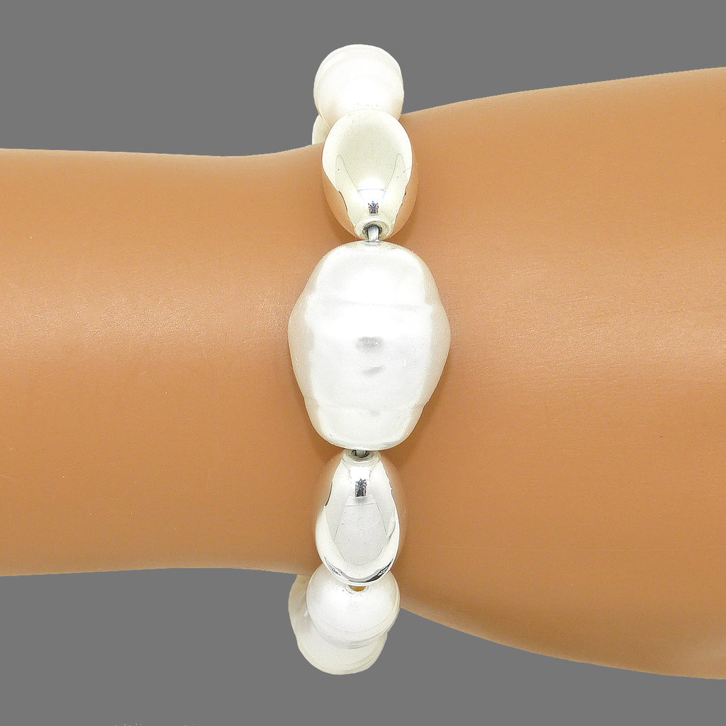 Simon Sebbag Pearls with 2 Sterling Silver Beads Large Center Pearl Bracelet B132PP
