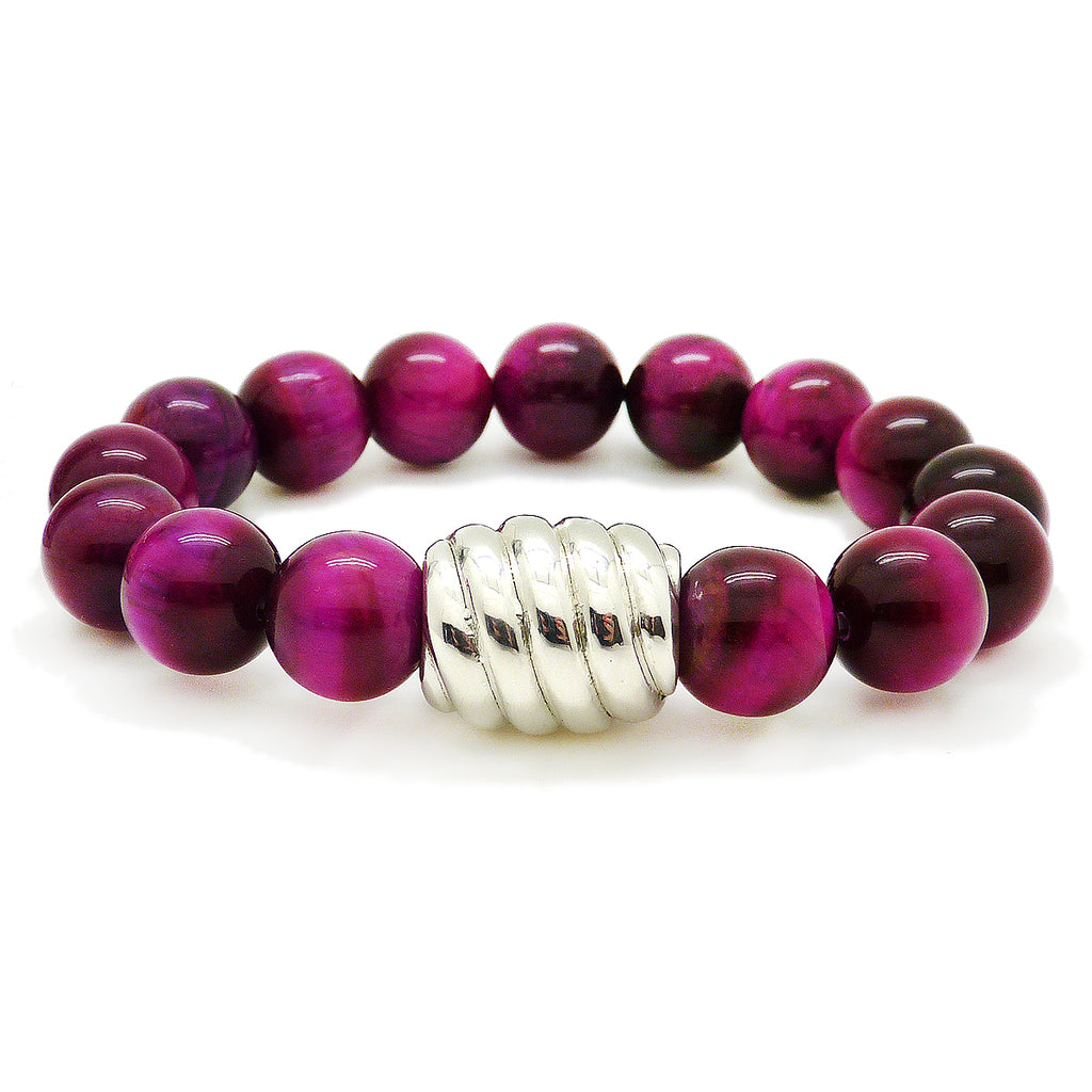 Simon Sebbag Sterling Silver Pink Tigers Eye Striated Bead Bracelet B133PTE - ILoveThatGift