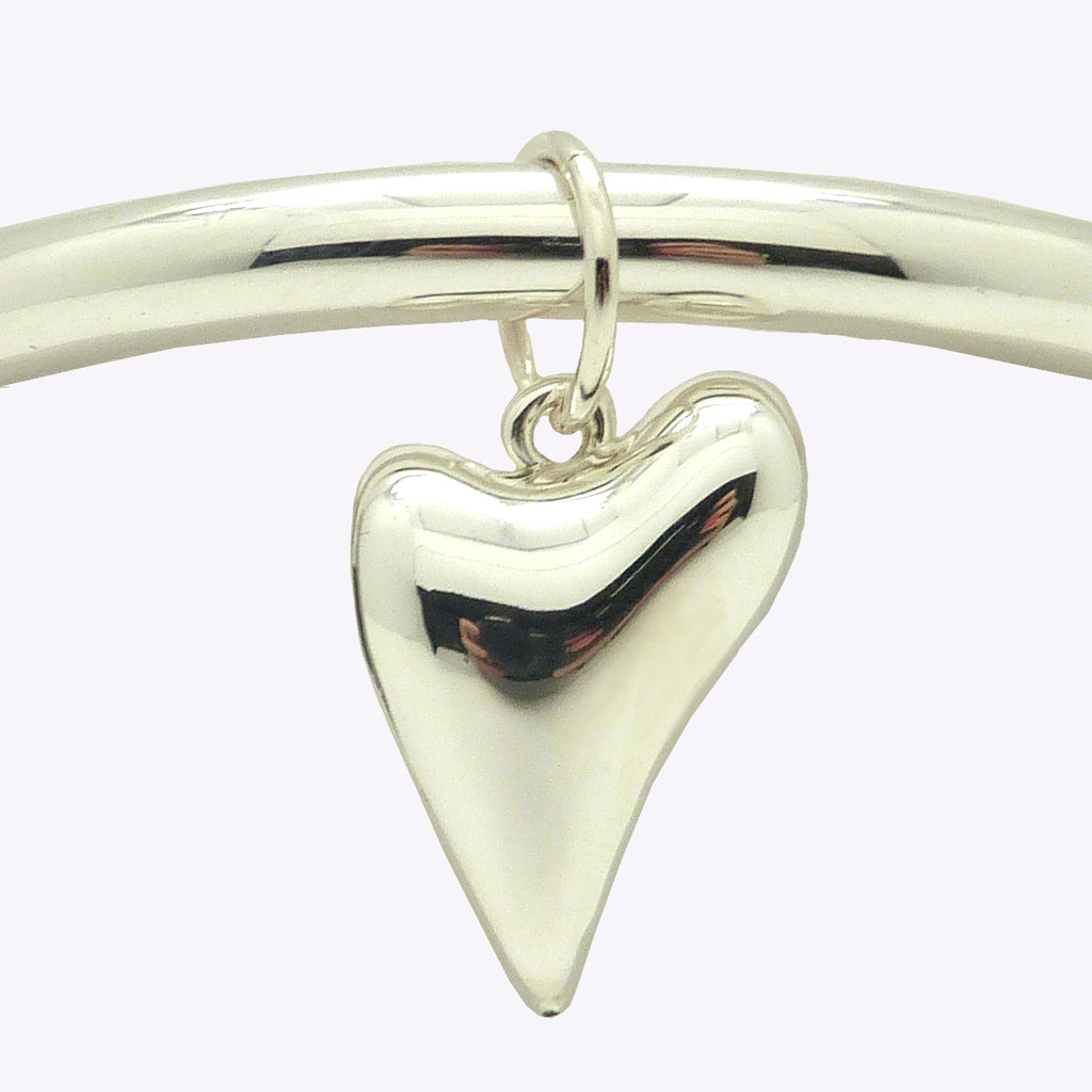 Simon Sebbag Sterling Silver 925 Smooth Thin Bangle Heart Charm Bracelet B1334A35