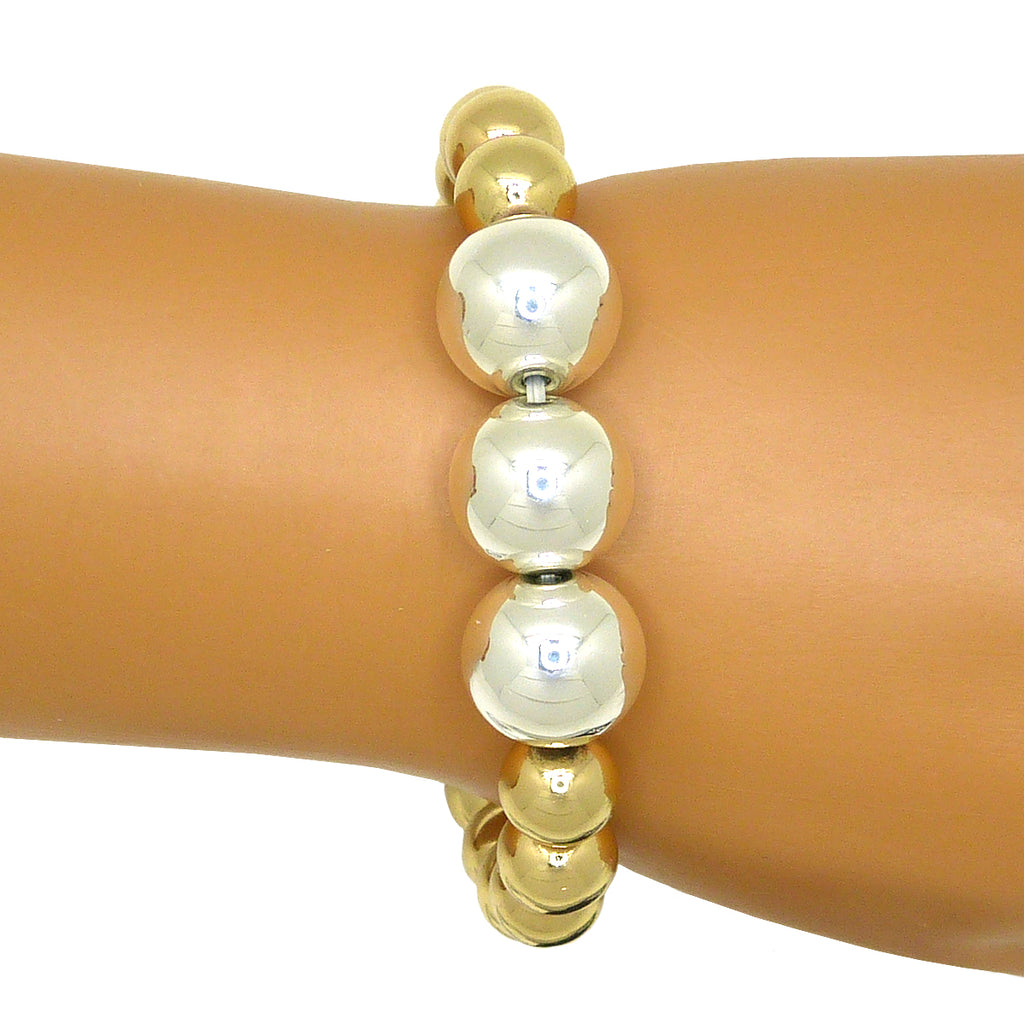 Simon Sebbag Stretch Round Gold Bracelet with Hematite & Sterling SIlver Beads B138RGH - ILoveThatGift