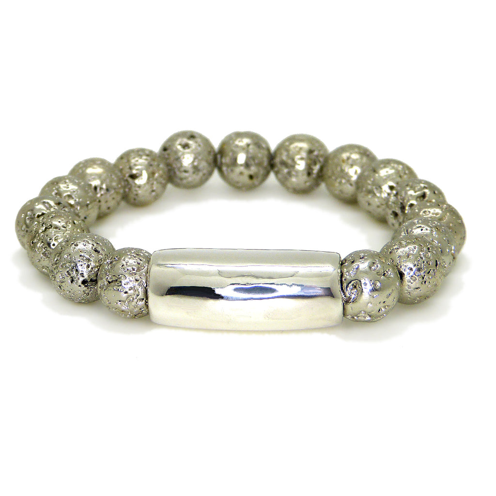 Simon Sebbag Stretch Sterling Silver & Platinum Plated Lava Bead Bracelet B149PPL - ILoveThatGift