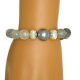 Simon Sebbag Sterling Silver 925 Faceted Gray Quartz Shell Bead Bracelet B157FQGS - ILoveThatGift