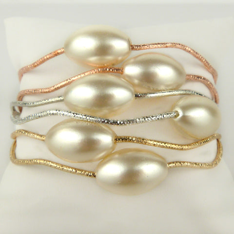 Set of Gold Silver Rose Gold Toned Bangles Bracelets with Pearls by Liza Kim