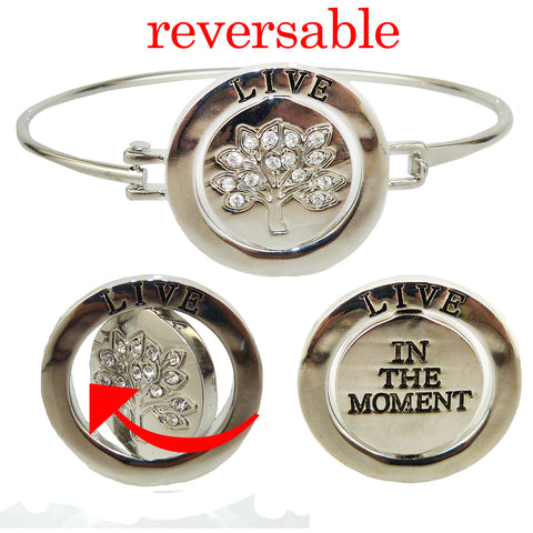 Live in The Moment Tree of Life Bangle Bracelet in Silver with Rhinestones by Liza Kim