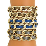Zenzii Gold Chain Link and Brown Blue or Gray Leather Double Wrap Buckle Bracelet