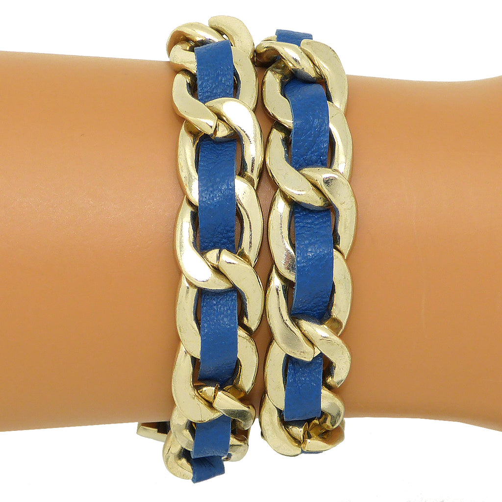 Zenzii Gold Chain Link and Brown Blue or Gray Leather Double Wrap Buckle Bracelet - ILoveThatGift