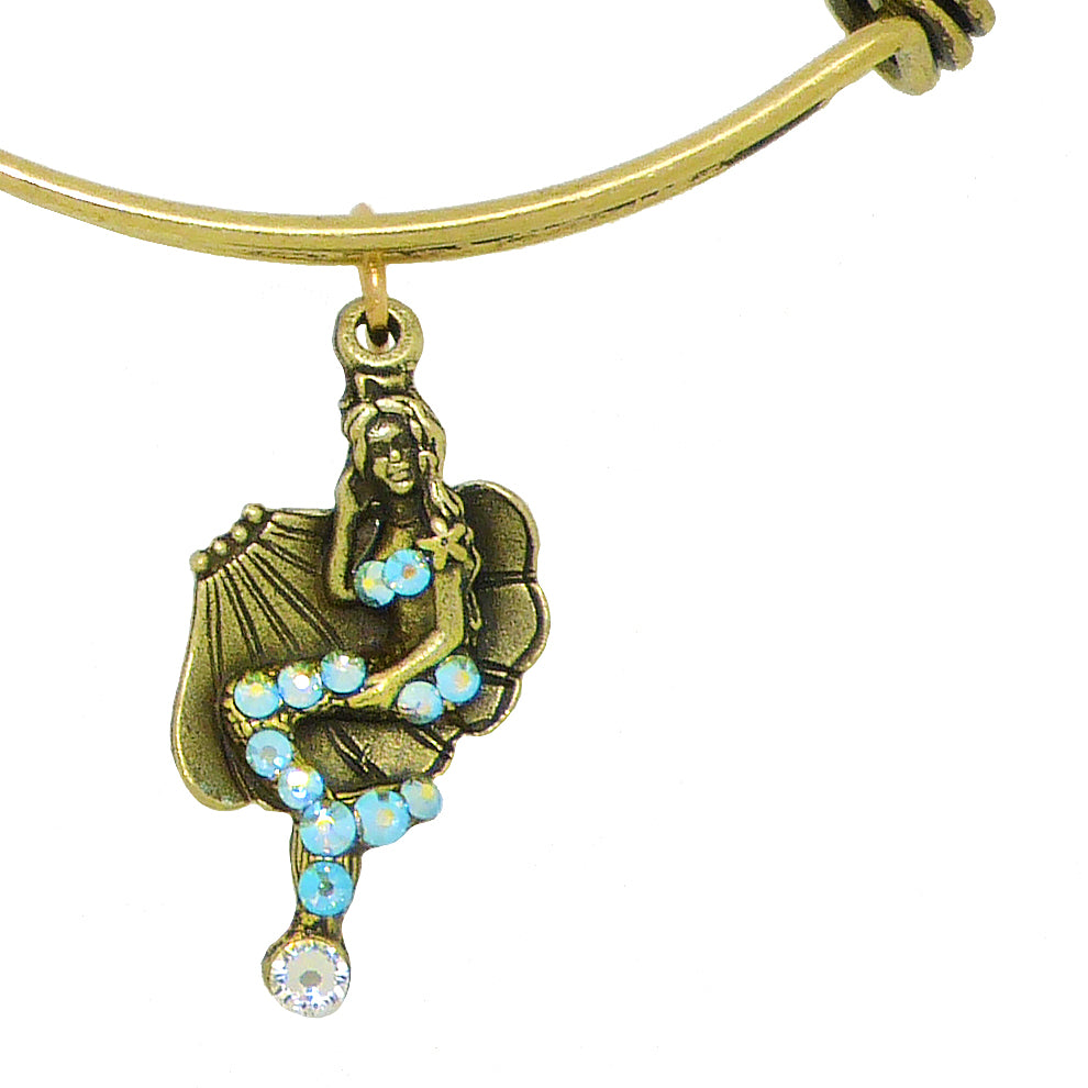 Anne Koplik Swarovski® Mermaid Adventure Charm Bangle Bracelet BBG004CRY - ILoveThatGift