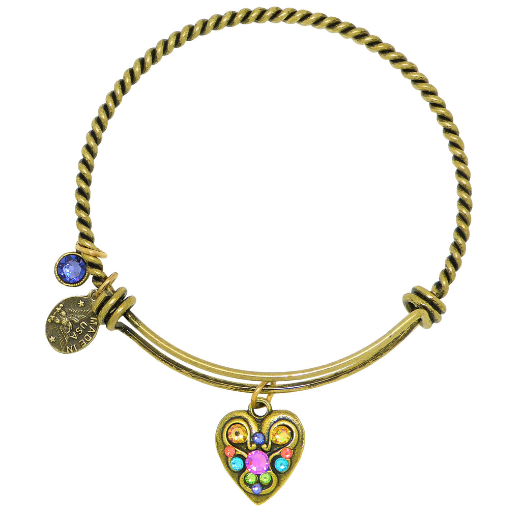 Anne Koplik Swarovski® Celebration Heart Love Charm Bangle Bracelet BBG013TAZ - ILoveThatGift