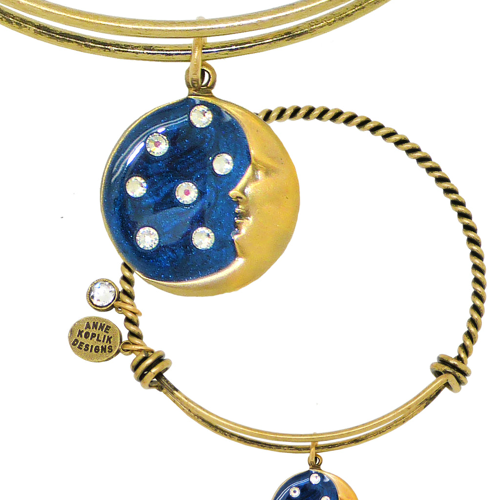 Anne Koplik Swarovski® Moon Light Crystal Charm Bangle Bracelet BBG020BLU - ILoveThatGift