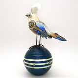 Mullanium White Red Blue Vireo Bird Croquet Ball Artists Jim Tori Mullan Steampunk Handmade - ILoveThatGift